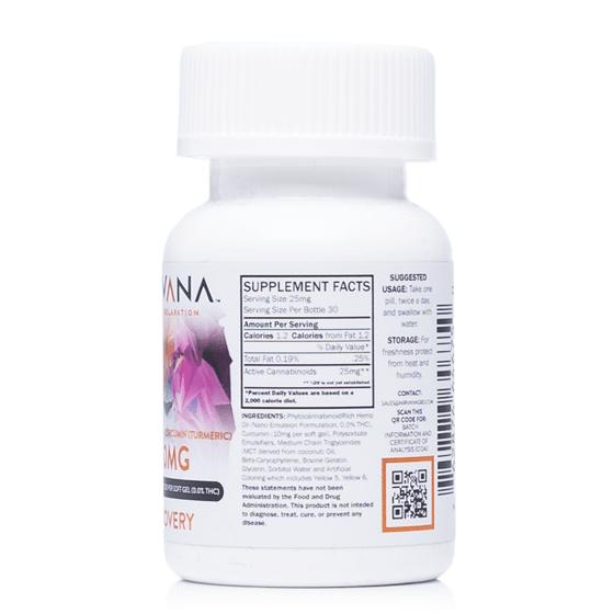 Nirvana Recovery CBD Gel Capsules-750mg