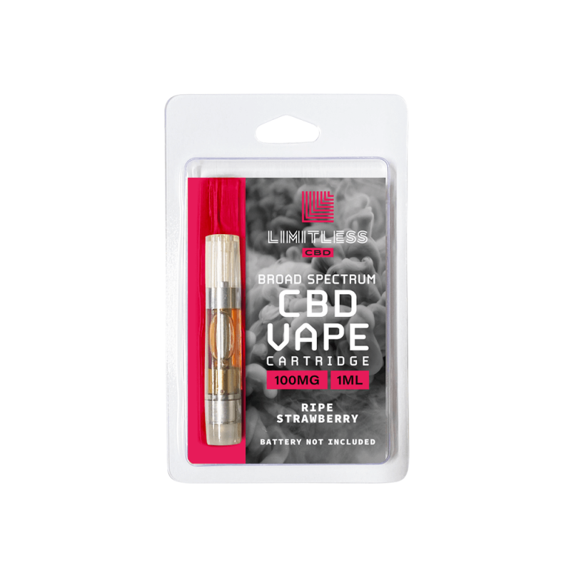 Limitless Broad Spectrum CBD Ripe Strawberry Vape Cartridge 1mL