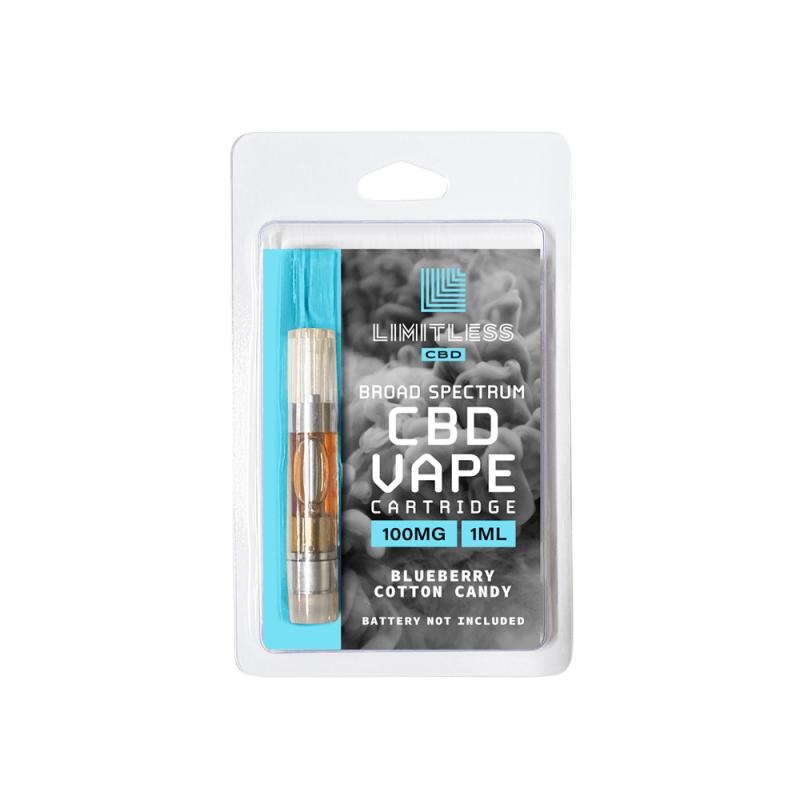 Limitless Broad Spectrum CBD Blueberry Cotton Candy Vape Cartridge 1mL