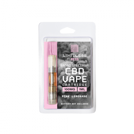 Limitless Broad Spectrum CBD Pink Lemonade Vape Cartridge 1mL