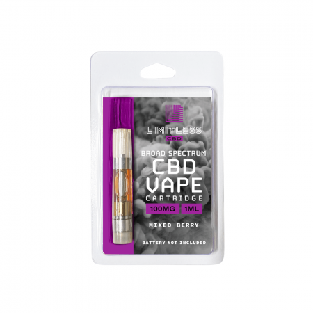 Limitless Broad Spectrum CBD Mixed Berry Vape Cartridge 1mL